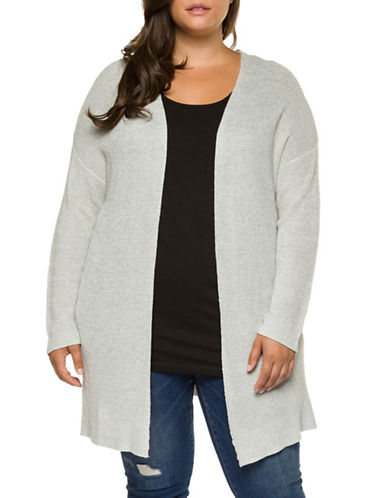 Dex Plus Open Cardigan Sweater-GREY-1X