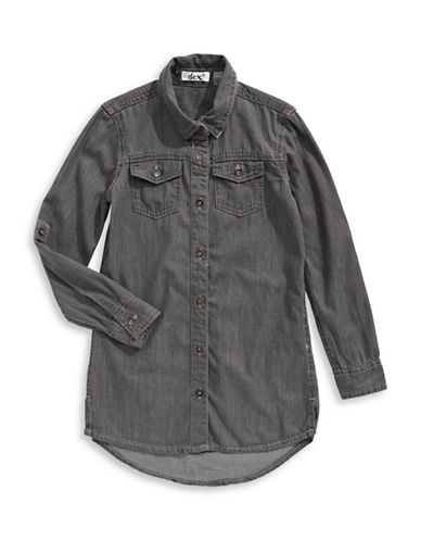 Dex Roll-Tab Sleeve Button-Front Shirt-GREY-6