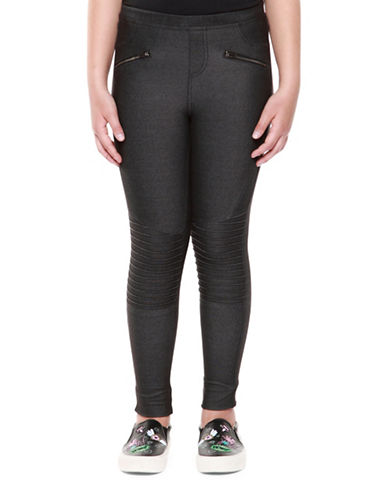 Dex Front Zippered Moto Leggings-GREY-X-Large