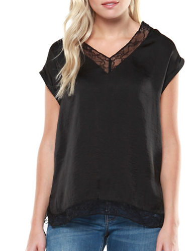 Dex Lace Trim Blouse-BLACK-Small