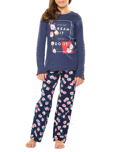 Dex Two-Piece Floral Quote Sleepwear Set-BLUE-Medium
