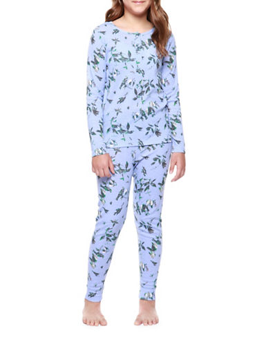 Dex Two-Piece Bird Sleepwear Set-BLUE-Medium