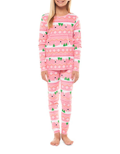 Dex Two-Piece Snowman Sleepwear Set-PINK-Small