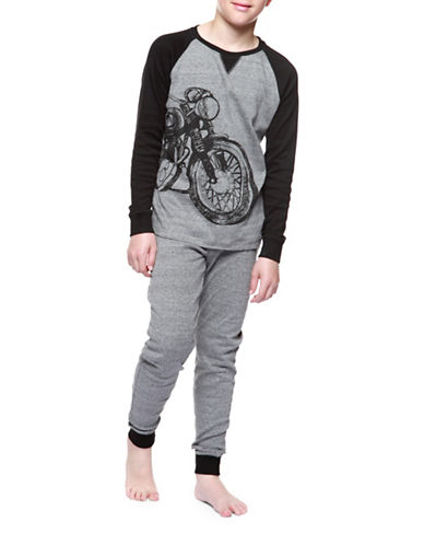Dex Two-Piece Graphic Top and Pants Sleepwear Set-GREY-Medium