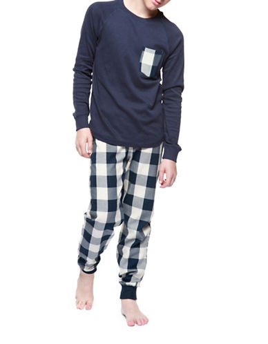 Dex Two-Piece Raglan Top and Check Pants Sleepwear Set-BLUE-Medium