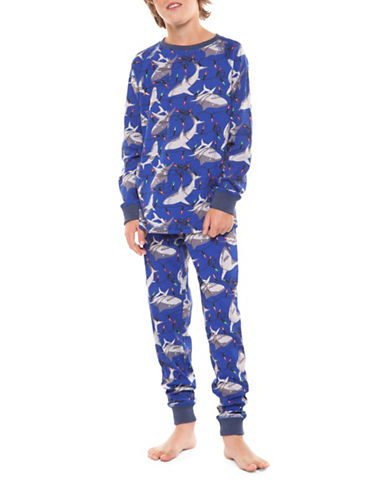Dex Two-Piece Graphic Sweater and Plaid Pants Sleepwear Set-BLUE-Medium