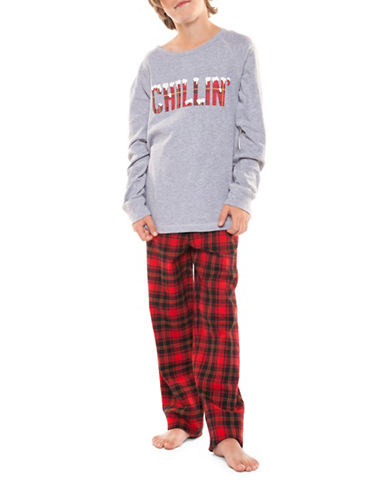 Dex Two-Piece Graphic Sweater and Plaid Pants Sleepwear Set-RED-Large