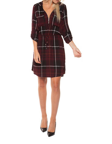 Dex Plaid Shirt Dress-RED-Medium