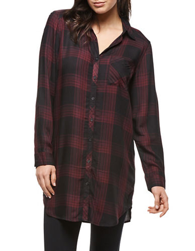 Dex Plaid Button-Down Shirt-BURGUNDY-Medium