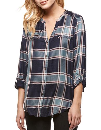 Dex Plaid Button-Down Shirt-BLUE-Small