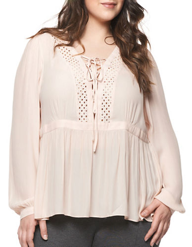 Dex Plus Lace-Up Crochet Top-PINK-3X