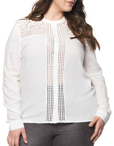 Dex Plus Lace Yoke Blouse-IVORY-1X