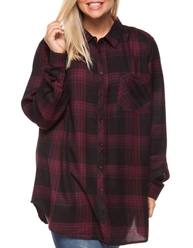 Dex Plus Plaid Tunic Button-Down Shirt-BURGUNDY-2X