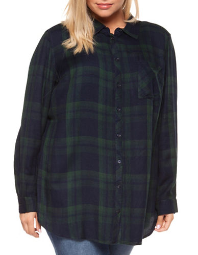 Dex Plus Plaid Tunic Button-Down Shirt-HUNTER GREEN-1X