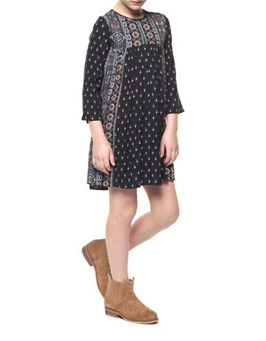 Dex Printed Round Neck Dress-BROWN-Small