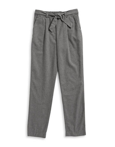 Dex Pleated Bow Tie Pants-GREY-Large