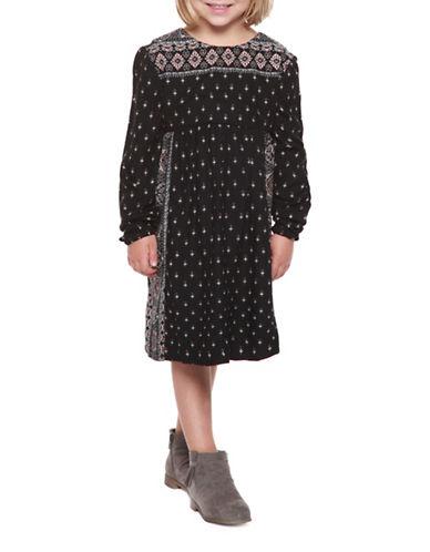 Dex Printed Round Neck Dress-BLACK-5