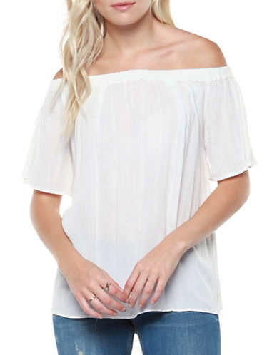 Dex Split Sleeve Off-the-Shoulder Blouse-IVORY-Large