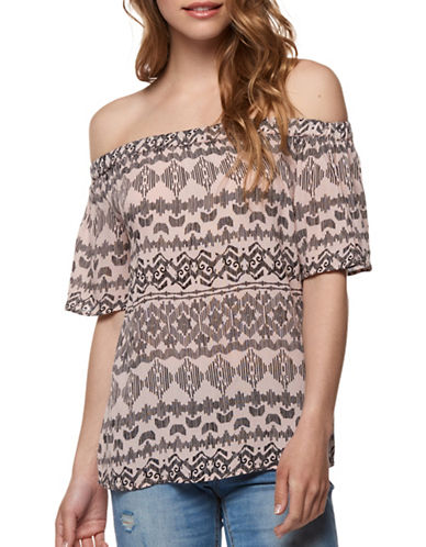 Dex Off-the-Shoulder Striped Top-PINK-Small