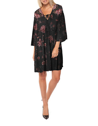 Dex Crochet Trim Floral Boho Dress-RED MULTI-X-Small