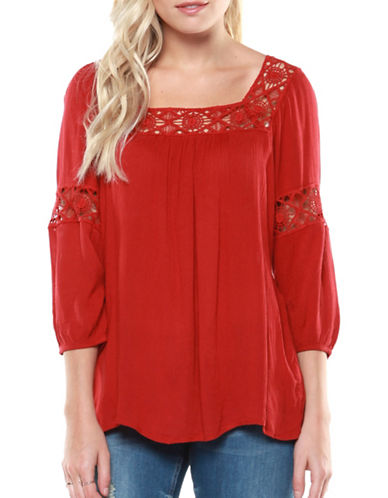 Dex Crochet Insert Blouse-ORANGE-Medium