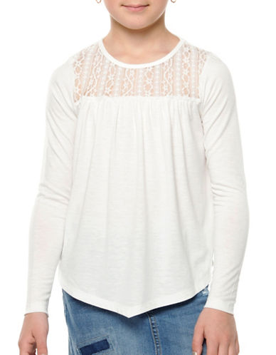 Dex Lace Yoke Knit Top-IVORY-4