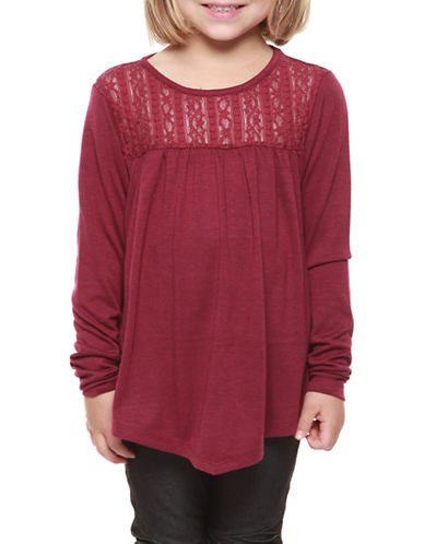 Dex Lace Yoke Knit Top-PURPLE-6