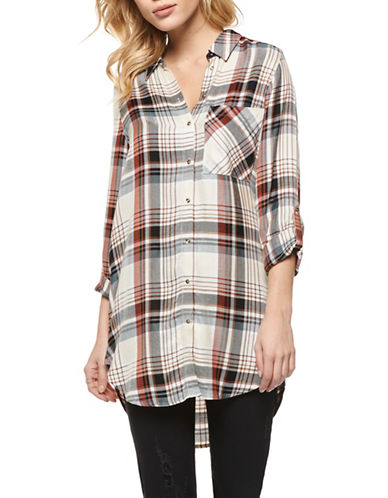 Dex Plaid Button-Down Shirt-BROWN MULTI-X-Small