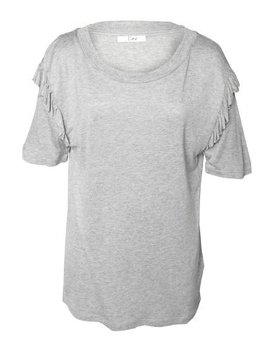 Dex Heathered Ruffled Tee-GREY-Medium