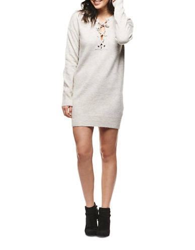 Dex Lace Front Sweater Dress-GREY-Small