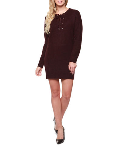 Dex Lace Front Sweater Dress-PURPLE-Medium