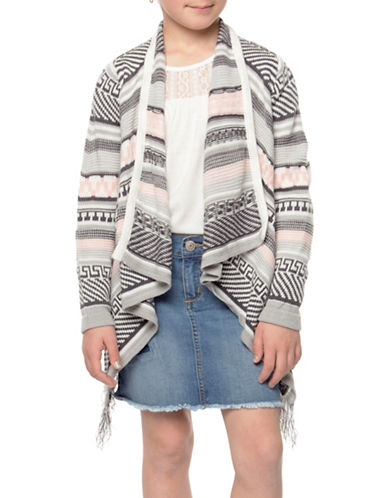 Dex Fringed Open-Front Cardigan-GREY-X-Large