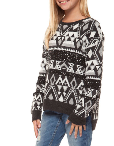 Dex Sequins and Geometric Print Sweater-GREY-14