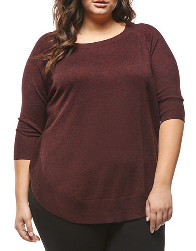 Dex Plus Round hem Sweater-BURGUNDY-3X