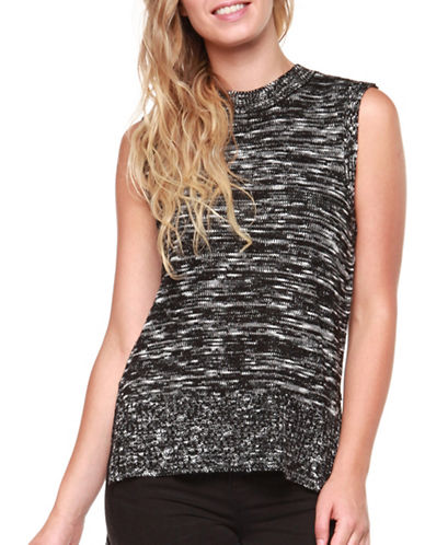 Dex Sleeveless Hi-Lo Hem Sweater-BLACK-X-Small