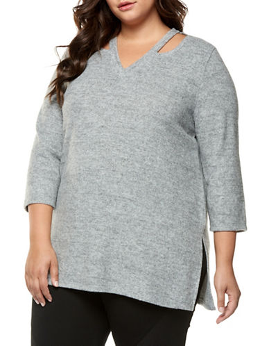 Dex Plus Cold-Shoulder Top-GREY-2X