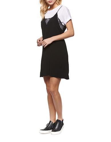 Dex Twofer Slip Dress-BLACK-Medium
