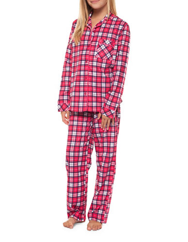 Dex Two-Piece Plaid Top and Pants Set-PINK-Small