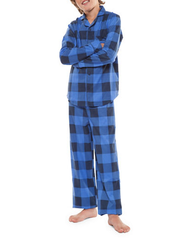 Dex Two-Piece Top and Pants Plaid Set-BLUE-Large
