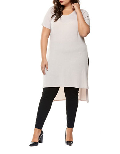 Dex Plus Long Hi-Lo Shimmer Tunic-PINK-1X