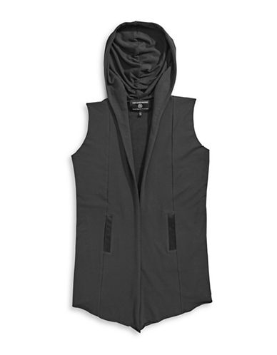 Hip And Bone Hooded Knit Vest-GREY-X-Large