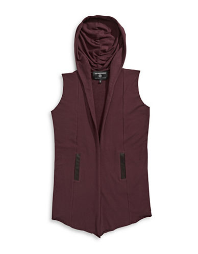 Hip And Bone Hooded Knit Vest-BURGUNDY-X-Large