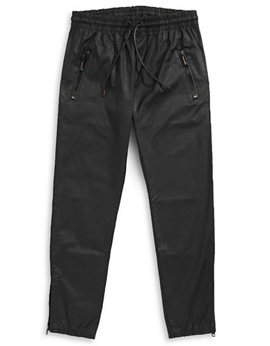 Hip And Bone Army Wax Denim Jogger Pants-BLACK-X-Small