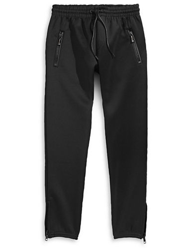 Hip And Bone Zip Pocket Joggers-BLACK-Small