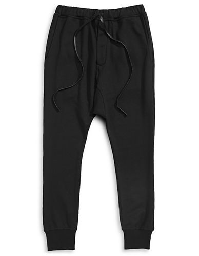 Hip And Bone Drop Jogger Pants-BLACK-X-Small