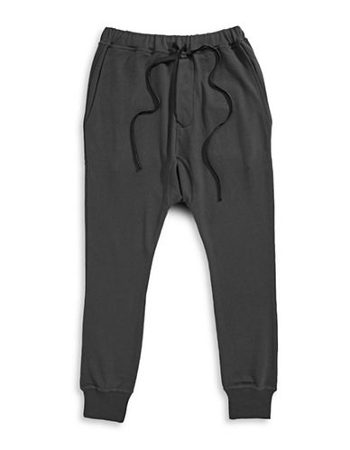 Hip And Bone Drop Jogger Pants-CHARCOAL-XX-Large