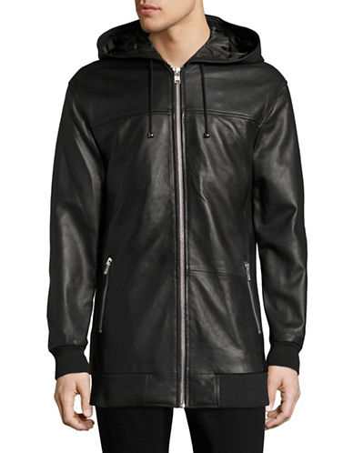 Hip And Bone Leather Hooded Jacket-BLACK-Small 88703824_BLACK_Small