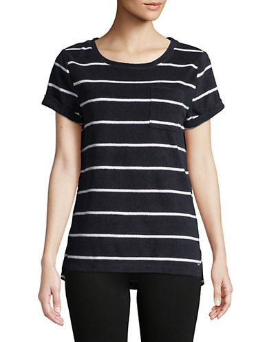 Marc New York Performance Short Sleeve Striped Hi-Lo Tee 90079730