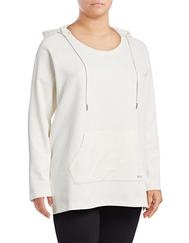 Marc New York Plus Hooded Spliced Tunic-WHITE-1X