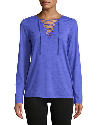 Marc New York Performance Lace-Up Long-Sleeve Tee-BLUE-Medium 89734754_BLUE_Medium